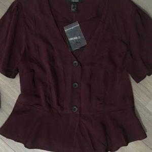 NWT forever21 peplum blouse